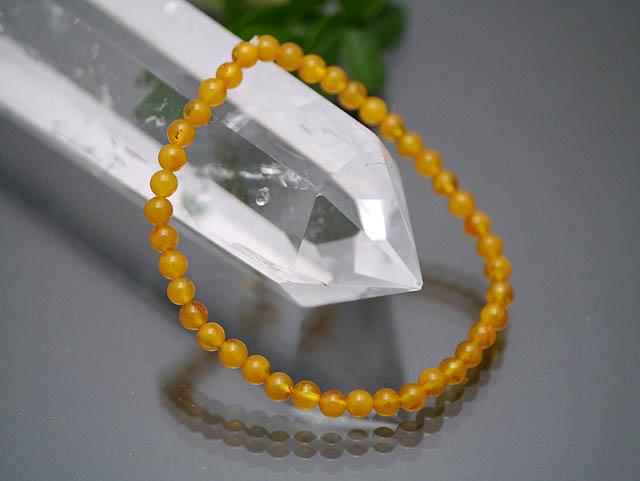 (鑑別書付1点物)ポーランド産 蜜蝋アンバー(天然琥珀) 5mm ブレスレット/天然石AMBE1-5