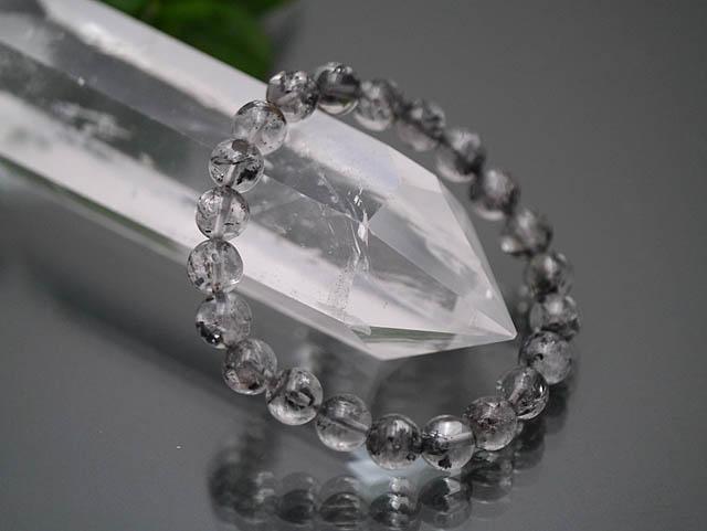カーボンインクルージョンヒマラヤ水晶 チベット産 AAA 9mm ブレスレット現品/天然石