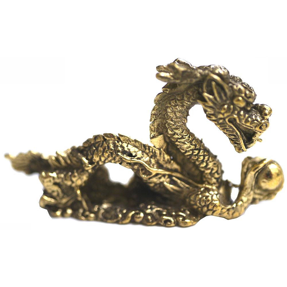 タイの真鍮製の厄除けお守りです 真鍮製の小さな置物 公式通販 海外並行輸入正規品 宝珠を掴む龍タイプ1 タイのお守り アジアン雑貨 エスニック ポスト投函配送選択可能です