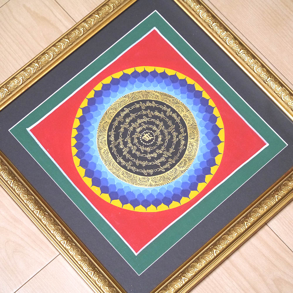 手書きのチベタン タンカ 額装 観音菩薩の真言曼陀羅1点物その9/密教 アジアン雑貨