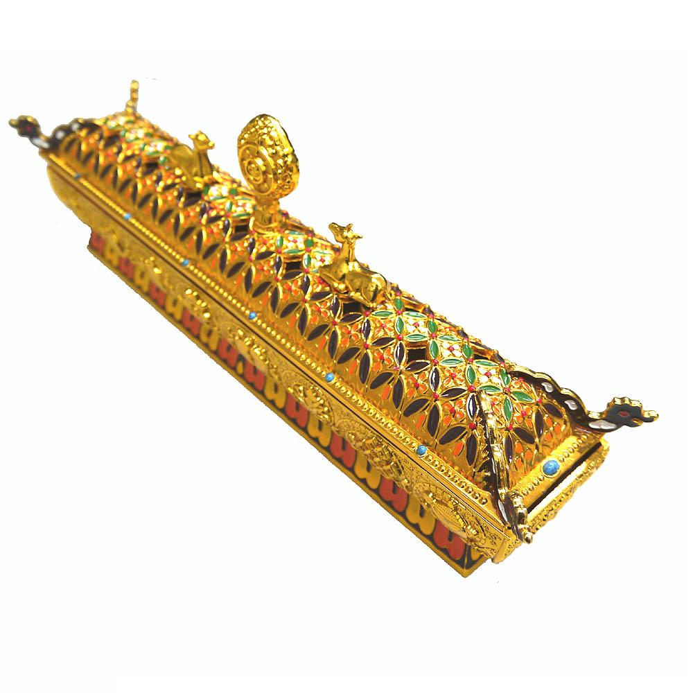 チベット八吉祥紋様の金属製大香炉(色付き)/インセンスホルダー/お香立て(ポスト投函配送不可)