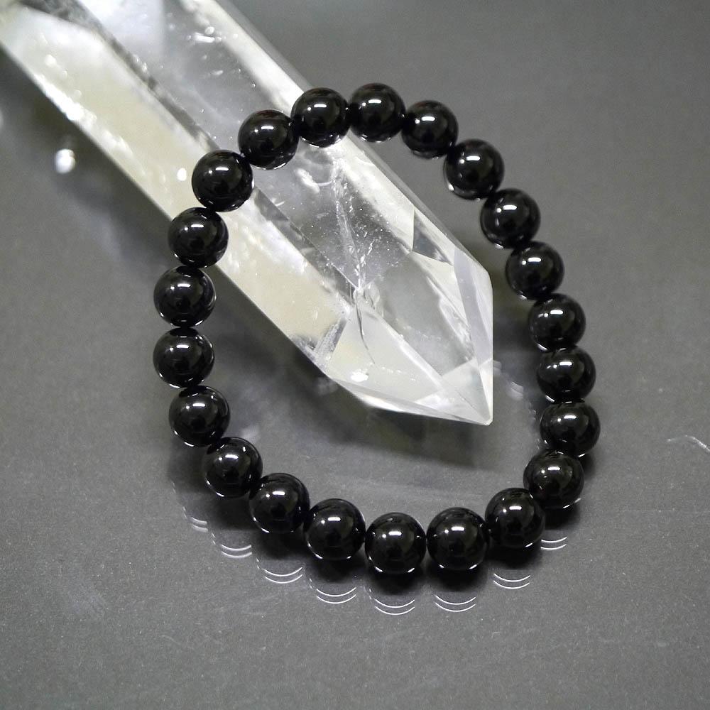 (鑑別書付1点物)高品質黒水晶(モリオン)10mm ブレスレット/天然石