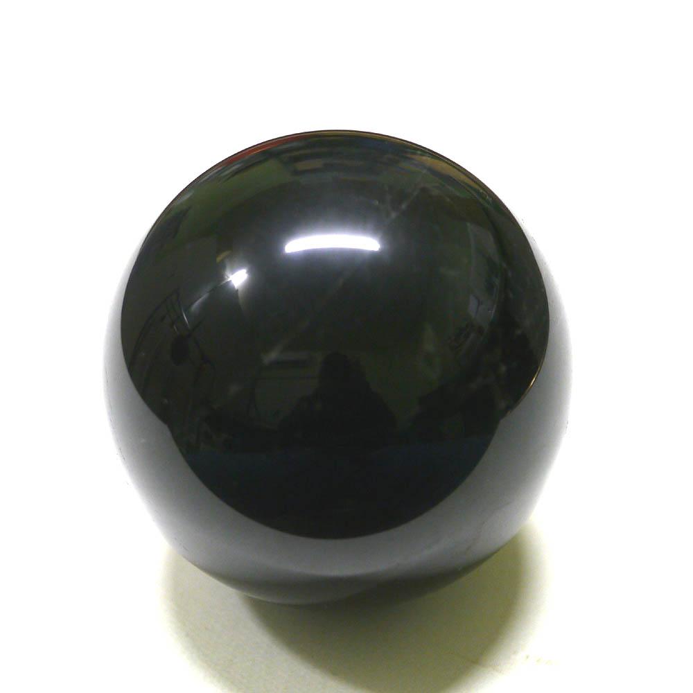 (鑑別書付1点物)大玉黒水晶/モリオン丸玉 74mm(567g)/天然石・置物