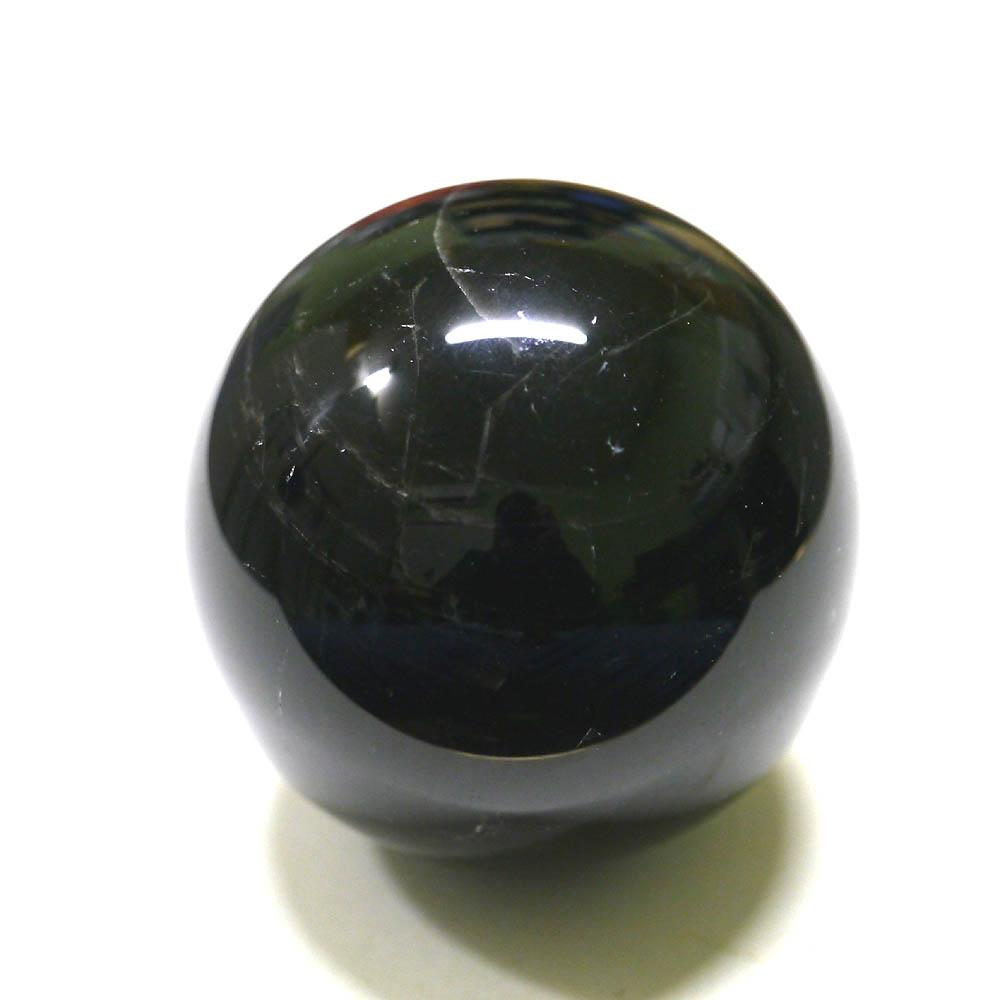 (鑑別書付1点物)大玉黒水晶/モリオン丸玉 74mm(570g)/天然石・置物