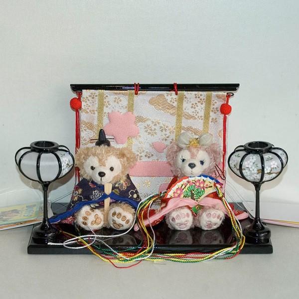 【送料無料】【雛人形】贈り物に♪ぼんぼり&屏風付き・ストラップサイズぬいぐるみ...