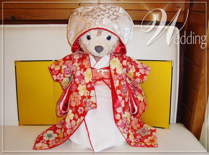 ダッフィー*シェリーメイコスチューム★花嫁衣裳セット・赤色内掛・和装・着物・結婚式・ウエディングny22-g(red)