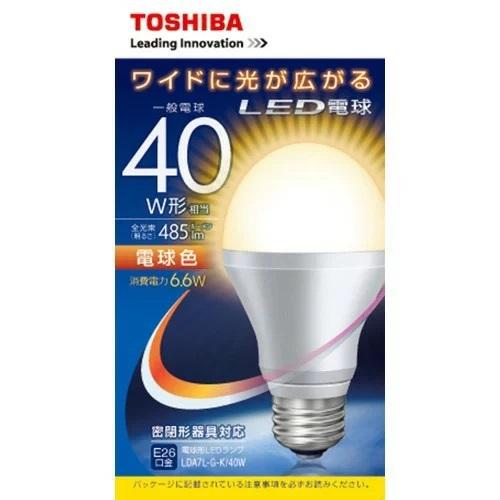 期間限定ポイント消化 在庫処分 東芝 イー お値打ち価格で コア LED電球 税込 一般電球形 LDA7L-G-K 40W 5.4W 485Lm 6.6W 電球色 1コ入