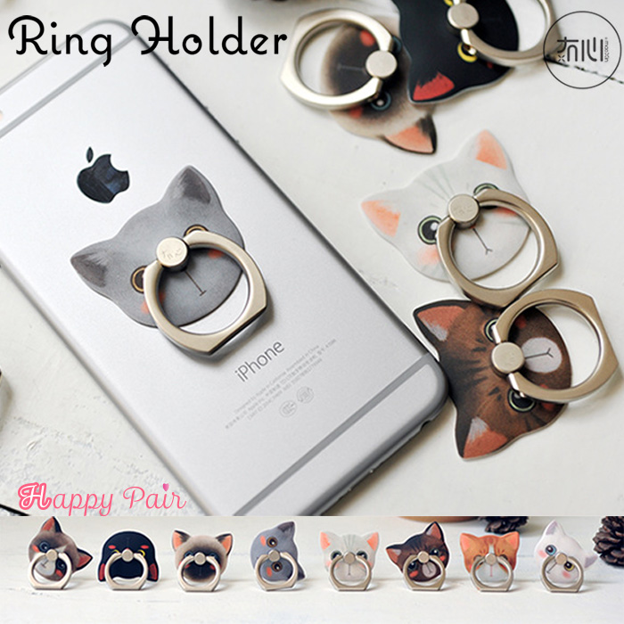 スマホ リング 本店 iPhone iPad mini バンカーリング NEW ARRIVAL 落下防止 タブレット スマートフォン ホルダー アイホン スマホリング かわいい 猫 Plus Android スタンド ポイント消化 スタンド機能 iPhone6s リングスタンド ネコ柄 iPhone8plus iPhone8 指輪型 動物 iPhone7