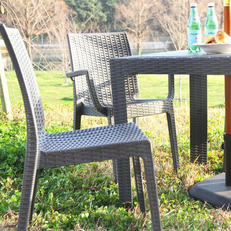 海外並行輸入正規品 ガーデンチェアー おしゃれ 即納送料無料! 2脚セット 幅46×奥行55×高さ85cm ベランダ ブラック 椅子