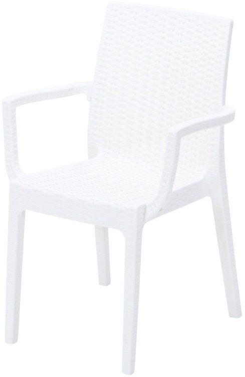 ガーデンチェアー おしゃれ 2脚セット 肘掛け付き ベランダ 倉庫 ホワイト 低廉 幅54×奥行55×高さ85cm 椅子