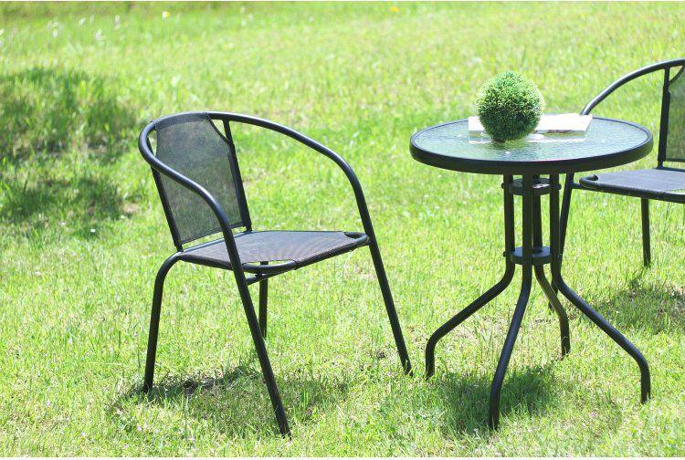 ガーデンチェアー おしゃれ 2脚セット スタッキング 幅52×奥行61×高さ73.5cm 通常便なら送料無料 ブラック 椅子 売り出し ベランダ