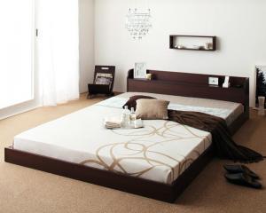 ベッド ギフト シングル ローベッド フロアベッド マットレス付き ナチュラル 棚 宮付き ボンネルコイル ハード 5%OFF コンセント付きローベッド シングルベッド