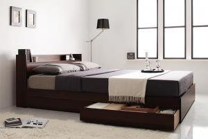 ダブルベッド 収納付き マットレス付き 国産ポケットコイル コンセント・収納ベッド