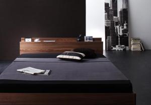 セミダブルベッド マットレス付き 国産カバーポケットコイル 棚・コンセント付きローベッド セミダブル