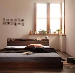 早割クーポン ベッド シングル ローベッド フロアベッド 在庫一掃 マットレス付き オークホワイト 棚 宮付き コンセント付きローベッド ハード シングルベッド ボンネルコイル