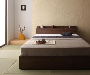 シングルベッド マットレス付き 国産カバーポケットコイル 棚・コンセント収納付きベッド シングル