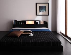 シングルベッド マットレス付き ボンネルコイル 照明・棚付きローベッド 宮付き ナチュラル