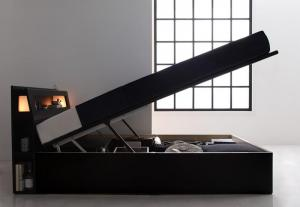 【 新品 】 シングルベッド シングルベット マットレス付き ライト ・ガス圧式跳ね上げ収納付きベッド デュラテクノ, meidentsu shop e1968a13