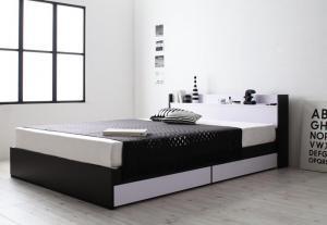 ダブルベッド マットレス付き スタンダードボンネルコイル モノトーンモダン 棚・コンセント付き収納ベッド ダブル