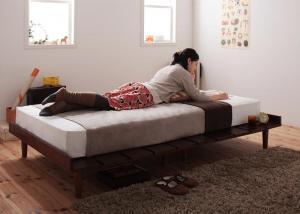 北欧デザインベッド セミシングル マットレス付き プレミアムポケットコイル ステージレイアウト:フレーム幅100