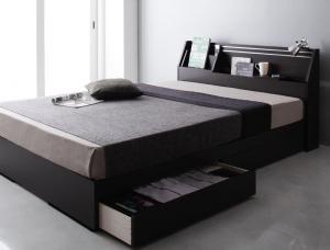 ダブルベッド 可動棚付きヘッドボード/収納ベッド ポケットコイルマットレス