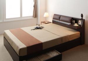 ダブルベッド クッション/フラップテーブル付き収納ベッド ボンネルコイルマットレス