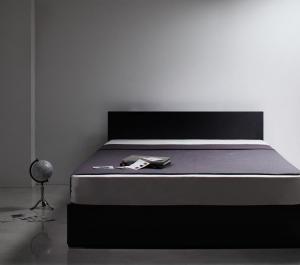 ダブルベッド シンプルモダン/収納ベッド ボンネルコイルマットレス付き:レギュラー