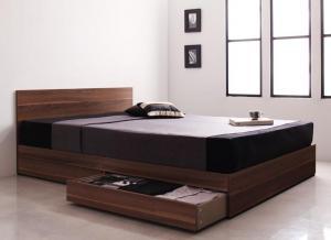 ダブルベッド シンプルモダン/収納ベッド ポケットコイルマットレス付き:レギュラー