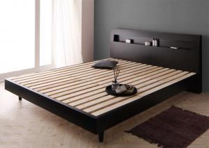 クイーンサイズベッド 棚/コンセント付きすのこベッド フレームのみ