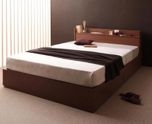 ダブルベッド 収納付き マットレス付き ポケットコイル(レギュラー) 棚・コンセント・収納ベッド