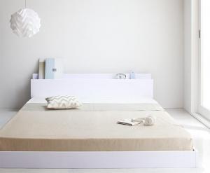 シングルベッド マットレス付き スタンダードボンネルコイル 棚・コンセント付きローベッド シングル