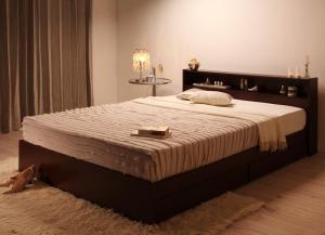 セミダブルベッド 収納付き マットレス付き マルチラススーパースプリング 棚・コンセント・収納ベッド