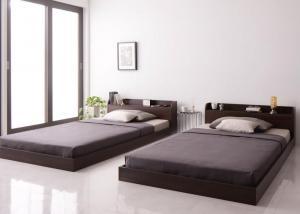 ベッド シングル ローベッド フロアベッド マットレス付き ダークブラウン シングルベッド 品質保証 ボンネルコイル コンセント付き 棚 おしゃれ ハード 新品 送料無料 宮付き
