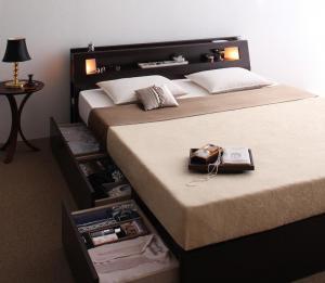 クイーンベッド クイーンサイズベッド 大型サイズ収納ベッド ポケットコイルマットレス付き(レギュラー)