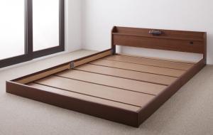 親子で寝られる棚・照明付き連結ベッド セミシングル フレームのみ