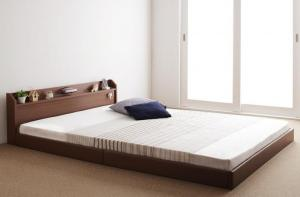 親子で寝られる棚・照明付き連結ベッド ダブル ポケットコイルマットレス付き