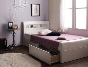 ショート丈収納付きベッド セミシングル マットレス付き スタンダードボンネルコイル セミシングルベッド