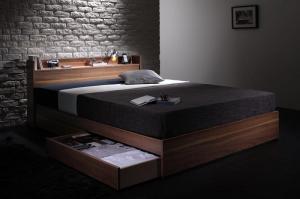 ダブルベッド 収納付き マットレス付き ボンネルコイル(レギュラー) ウォルナット柄・棚・コンセント・収納ベッド