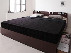キングサイズベッド 収納付き マットレス付き ボンネルコイル(レギュラー) 棚・コンセント・収納ベッド