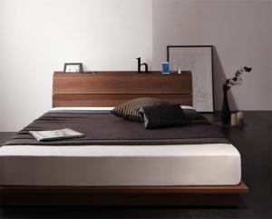 ローベッド シングルベッド シングル マットレス付き ポケットコイル/レギュラー 棚・コンセント付き