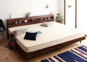 連結ベッド マットレス付き 棚・コンセント付きすのこファミリーベッド 国産ポケットコイル WK280