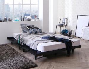 デザインベッド セミダブル マットレス付き スタンダードボンネルコイル 木脚タイプ ステージレイアウト:フレーム幅140