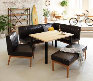 ダイニングテーブルセット 7人掛け おしゃれ 西海岸ヴィンテージ 5点セット(テーブル120+ソファ+右アームソファ+チェア+ベンチ)