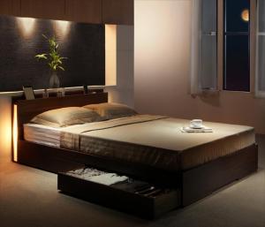セミダブルベッド 収納付き マットレス付き マルチラススーパースプリング スリム照明・収納ベッド