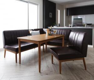 ダイニングテーブルセット 5人掛け 4点セット(テーブル幅120+ソファー+アームソファー+チェア1脚) 右アームタイプ モダン おしゃれ