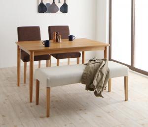 ダイニングテーブルセット 4点セットA(テーブルW120/チェア2脚/ベンチ) 4人用 洗えるカバー付き ダイニングセット