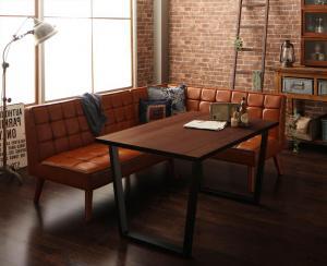ダイニングテーブルセット 4人掛け 3点セット(テーブル幅120+ソファ+アームソファ) 右アームタイプ アメリカンヴィンテージ おしゃれ