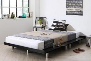 デザインベッド セミダブル マットレス付き スタンダードボンネルコイル スチール脚タイプ ステージレイアウト:フレーム幅140