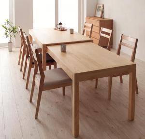ダイニングテーブルセット 6人掛け おしゃれ スライド伸縮 7点セット(テーブル幅135-235/チェア6脚)