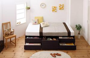 セミシングルベッド マットレス付き 薄型ポケットコイル 大容量収納付きベッド